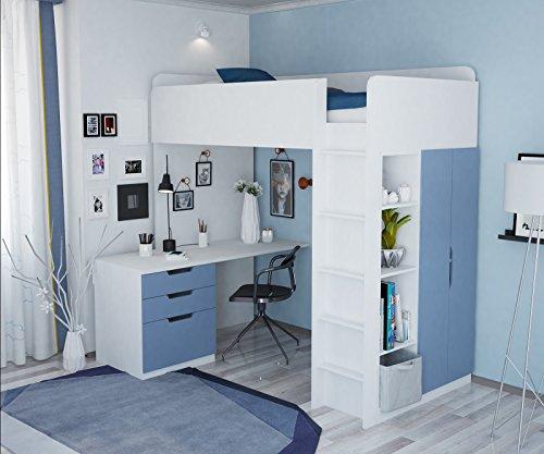 Polini Kids Kinder Etagenbett Hochbett Kombination 5 in 1 (weiß blau)