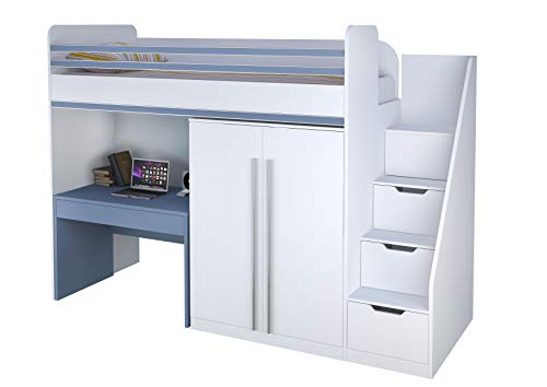 Polini City Hochbett Kombination mit Treppe Kleiderschrank und Tisch weiß blau
