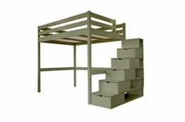 ABC MEUBLES - Hochbett Sylvia mit Treppenregal Holz - Cube - Grau, 140x200 - 1