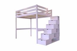 ABC MEUBLES - Hochbett Sylvia mit Treppenregal Holz - Cube - Pastell-lila, 140x200 - 1