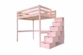 ABC MEUBLES - Hochbett Sylvia mit Treppenregal Holz - Cube - Pastellrosa, 140x200 - 1