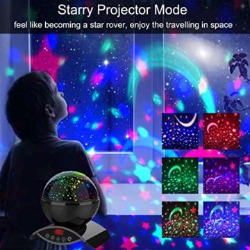 Amouhom Sternenhimmel Projektor Lampe mit Fernbedienung, LED Nachtlicht mit Wiederaufladbare Batterie 360 Drehen und Timing Schlaflicht für Kinders Schlafzimmer Romantische Geschenke für Frauen - 2