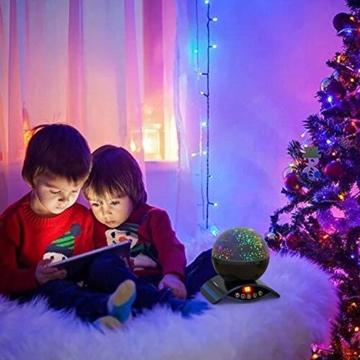 Amouhom Sternenhimmel Projektor Lampe mit Fernbedienung, LED Nachtlicht mit Wiederaufladbare Batterie 360 Drehen und Timing Schlaflicht für Kinders Schlafzimmer Romantische Geschenke für Frauen - 3