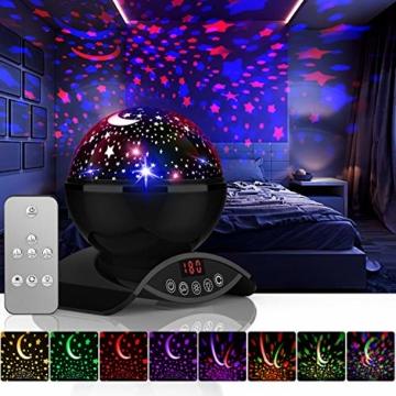 Amouhom Sternenhimmel Projektor Lampe mit Fernbedienung, LED Nachtlicht mit Wiederaufladbare Batterie 360 Drehen und Timing Schlaflicht für Kinders Schlafzimmer Romantische Geschenke für Frauen - 1
