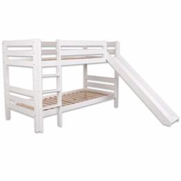 Bubema Maja Kinder Etagenbett/Hochbett, Buche massiv, mit oder ohne Rutsche, verschiedene Farben Farbe Weiß lackiert, Größe Mit Rutsche - 1