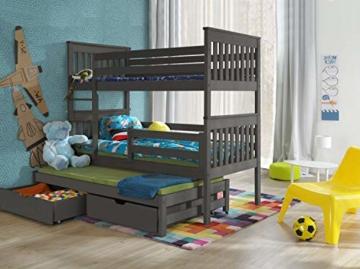 Bunk Beds Etagenbetten aus Holz für 3 Personen, Massivholz - 3