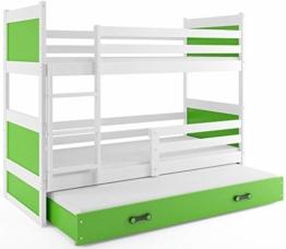 Etagenbett Hochbett RICO 3 (für DREI Kinder) 190x80cm, Frabe: weiβ + 2. Farbe zu wählen; mit Lattenroste + Matratzen (grün) - 1