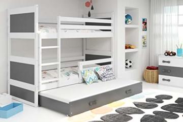 Etagenbett Hochbett RICO 3 (für DREI Kinder) 190x80cm, Frabe: weiβ + 2. Farbe zu wählen; mit Lattenroste + Matratzen (grau) - 2
