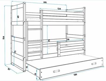 Etagenbett Hochbett RICO 3 (für DREI Kinder) 190x80cm, Frabe: weiβ + 2. Farbe zu wählen; mit Lattenroste + Matratzen (grau) - 3