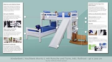 Etagenbett/Spielbett Moritz L Buche Vollholz massiv weiß lackiert mit Regal und Rutsche, inkl. Rollrost - 90 x 200 cm, teilbar - 2