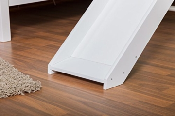 Etagenbett/Spielbett Moritz L Buche Vollholz massiv weiß lackiert mit Regal und Rutsche, inkl. Rollrost - 90 x 200 cm, teilbar - 3