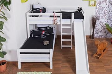 Etagenbett/Spielbett Moritz L Buche Vollholz massiv weiß lackiert mit Regal und Rutsche, inkl. Rollrost - 90 x 200 cm, teilbar - 4