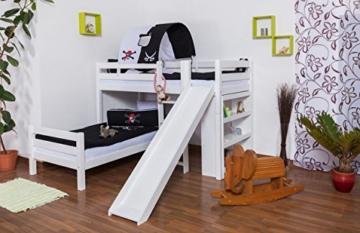 Etagenbett/Spielbett Moritz L Buche Vollholz massiv weiß lackiert mit Regal und Rutsche, inkl. Rollrost - 90 x 200 cm, teilbar - 1
