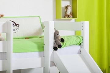 Etagenbett/Spielbett Moritz L Buche Vollholz massiv weiß lackiert mit Regal und Rutsche, inkl. Rollrost - 90 x 200 cm, teilbar - 5