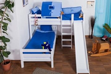 Etagenbett/Spielbett Moritz L Buche Vollholz massiv weiß lackiert mit Regal und Rutsche, inkl. Rollrost - 90 x 200 cm, teilbar - 6