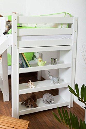 Etagenbett/Spielbett Moritz L Buche Vollholz massiv weiß lackiert mit Regal und Rutsche, inkl. Rollrost - 90 x 200 cm, teilbar - 8