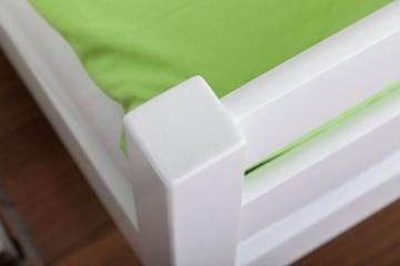 Etagenbett/Spielbett Moritz L Buche Vollholz massiv weiß lackiert mit Regal und Rutsche, inkl. Rollrost - 90 x 200 cm, teilbar - 9