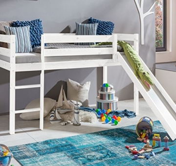 Farbe Weiss Kinderbett Hochbett mit rutsche Leiter Hochbett Spielbett Kiefer Massiv - 7