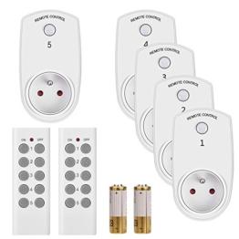 Funksteckdosen Set aus 5 Funksteckdose mit 2 Fernbedienung Funkschalter Set 2300 Watt 230V Reichweite 25m Plug & Play mit 2 x Fernbedienung - 1