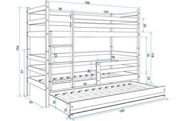 Interbeds Etagenbett Eryk 3 (für DREI Kinder) 160x80cm Farbe: WEIß; mit Lattenroste und Matratzen (weiß + weiße Schublade) - 2