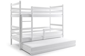 Interbeds Etagenbett Eryk 3 (für DREI Kinder) 160x80cm Farbe: WEIß; mit Lattenroste und Matratzen (weiß + weiße Schublade) - 3
