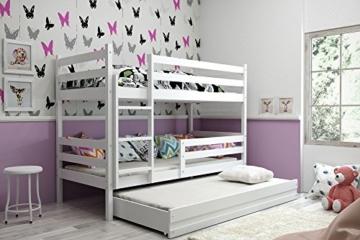 Interbeds Etagenbett Eryk 3 (für DREI Kinder) 160x80cm Farbe: WEIß; mit Lattenroste und Matratzen (weiß + weiße Schublade) - 1