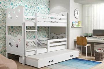 Interbeds Etagenbett Miko 3 160x80cm (für DREI Kinder) Farbe: Weiβ + 2. Farbe zur Wahl; mit Matratzen und Lattenroste (weiβ) - 2