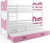 Interbeds Etagenbett Miko 3 (für DREI Kinder) 190x80cm Farbe: Weiβ + 2. Farbe zur Wahl; mit Matratzen und Lattenroste (rosa) - 1