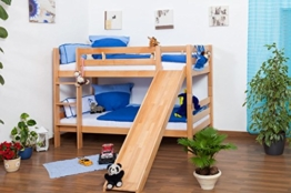 Kinderbett Etagenbett Jonas Buche Vollholz natur massiv mit Rutsche inkl. Rollrost - 90 x 200 cm, teilbar, Aktionsversion - 1