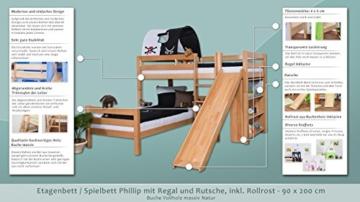 Kinderbett Etagenbett Moritz L Buche Vollholz massiv natur mit Regal und Rutsche, inkl. Rollrost - 90 x 200 cm, teilbar - 2