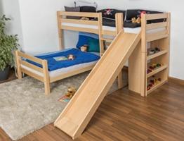 Kinderbett Etagenbett Moritz L Buche Vollholz massiv natur mit Regal und Rutsche, inkl. Rollrost - 90 x 200 cm, teilbar - 1