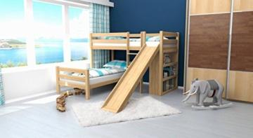 Kinderbett Etagenbett Moritz L Buche Vollholz massiv natur mit Regal und Rutsche, inkl. Rollrost - 90 x 200 cm, teilbar - 5