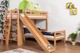 Kinderbett Etagenbett Pauli Buche Vollholz massiv natur mit Regal und Rutsche inkl. Rollrost - 90 x 200 cm, teilbar - 1