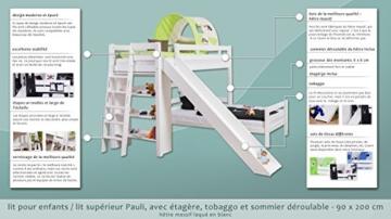 Kinderbett Etagenbett Pauli Buche Vollholz massiv weiß lackiert mit Regal und Rutsche inkl. Rollrost - 90 x 200 cm, teilbar - 2