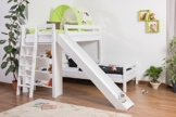Kinderbett Etagenbett Pauli Buche Vollholz massiv weiß lackiert mit Regal und Rutsche inkl. Rollrost - 90 x 200 cm, teilbar - 1