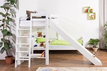 Kinderbett Etagenbett Pauli Buche Vollholz massiv weiß lackiert mit Regal und Rutsche inkl. Rollrost - 90 x 200 cm, teilbar - 3