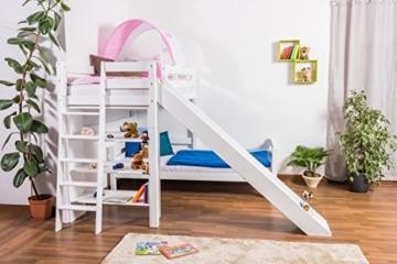 Kinderbett Etagenbett Pauli Buche Vollholz massiv weiß lackiert mit Regal und Rutsche inkl. Rollrost - 90 x 200 cm, teilbar - 4