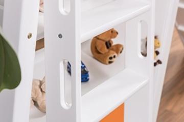 Kinderbett Etagenbett Pauli Buche Vollholz massiv weiß lackiert mit Regal und Rutsche inkl. Rollrost - 90 x 200 cm, teilbar - 6