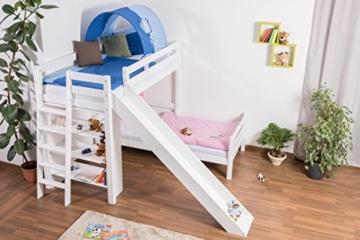 Kinderbett Etagenbett Pauli Buche Vollholz massiv weiß lackiert mit Regal und Rutsche inkl. Rollrost - 90 x 200 cm, teilbar - 7