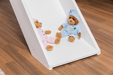 Kinderbett Etagenbett Pauli Buche Vollholz massiv weiß lackiert mit Regal und Rutsche inkl. Rollrost - 90 x 200 cm, teilbar - 8
