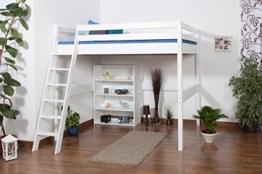 Kinderbett Hochbett Christoph Buche Vollholz massiv weiß lackiert inkl. Rollrost - 140 x 200 cm - 1