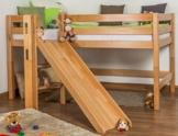Kinderbett Hochbett Samuel Buche Vollholz massiv mit Rutsche natur inkl. Rollrost - 90 x 200 cm - 1