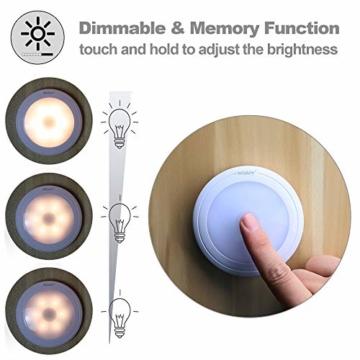 [neue Version] SOAIY 3er-Set LED Nachtlicht mit Touchsensor Dimmbar Batteriebetrieben Touch Lampe Schrankleuchte Küchenlampe Memory-Funktion Warmweiß 2700K - 3