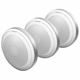 [neue Version] SOAIY 3er-Set LED Nachtlicht mit Touchsensor Dimmbar Batteriebetrieben Touch Lampe Schrankleuchte Küchenlampe Memory-Funktion Warmweiß 2700K - 1