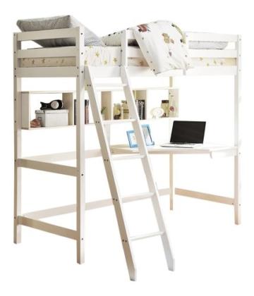 Noa and Nani Hochbett High sleeeper mit Schreibtisch in weiß, New York 2'6Loft Bett - 4