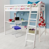 Noa and Nani Hochbett Hohe sleeeper & Matratze mit Schreibtisch in weiß, Etagenbett–Hochbett W + Matratze - 1