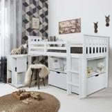 Noa and Nani Oliver Schlafstation/Hochbett mit Schreibtisch, Schubladen, Regalböden, Weiß - 1