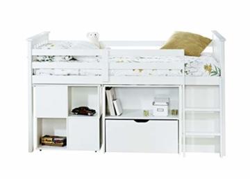 Noa and Nani Oliver Schlafstation/Hochbett mit Schreibtisch, Schubladen, Regalböden, Weiß - 3
