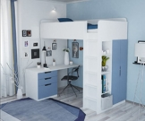 Polini Kids Kinder Etagenbett Hochbett Kombination 5 in 1 (weiß blau) - 1