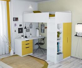 Polini Kids Kinder Etagenbett Hochbett Kombination 5 in 1 (weiß gelb) - 1